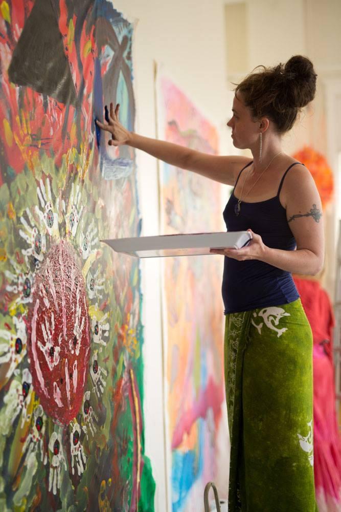 Jesse Webb painting at International Soul Art Day 2015