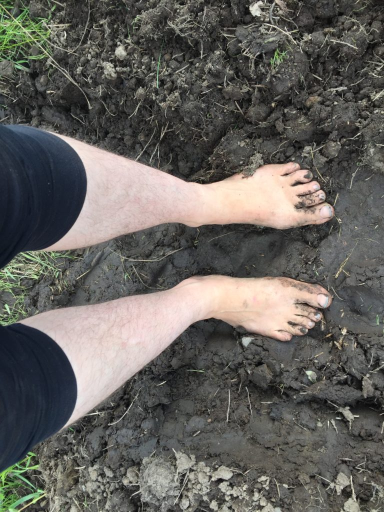 Jesse feet in the mud